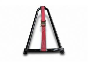 N-Fab - N-Fab Gloss Black Bed Mounted Tire Carrier w/Red Strap BM1TCRD - Image 1