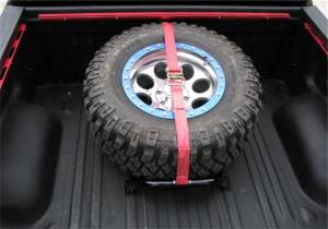 N-Fab - N-Fab Gloss Black Bed Mounted Tire Carrier w/Red Strap BM1TCRD - Image 2