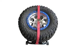 N-Fab - N-Fab Gloss Black Bed Mounted Tire Carrier w/Red Strap BM1TCRD - Image 5