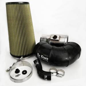 6.4 Cold Air Intake 08-10 Ford Super Duty Power Stroke Polished PG7 Filter for Mod Turbo 5 Inch Inlet No Limit Fabrication
