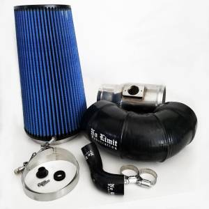 6.4 Cold Air Intake 08-10 Ford Super Duty Power Stroke Polished Oiled Filter for Mod Turbo 5 Inch Inlet No Limit Fabrication