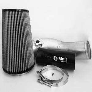 6.0 Cold Air Intake 03-07 Ford Super Duty Power Stroke Raw Dry Filter No Limit Fabrication