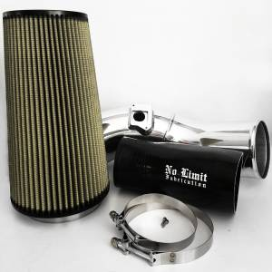 6.0 Cold Air Intake 03-07 Ford Super Duty Power Stroke Polished PG7 Filter No Limit Fabrication