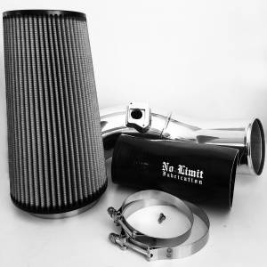 6.0 Cold Air Intake 03-07 Ford Super Duty Power Stroke Polished Dry Filter No Limit Fabrication